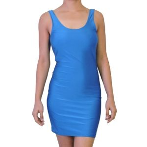 NWOT F 21 blue bodycon backless dress size M